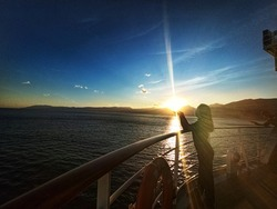 Daily sunset Point of View from Cruiseship perspective