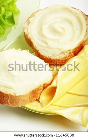 Dairy produce foodstuffs. Shot in a studio.