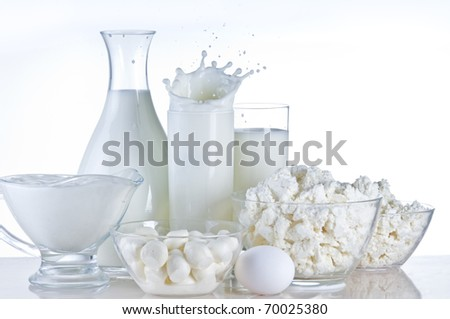 Dairy product and milk still-life over white background
