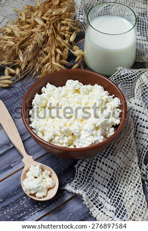 Dairy products milk and cottage cheese  for jewish holiday Shavuot. Selective focus.