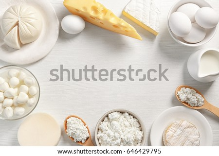 Dairy products on table, top view