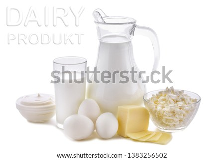 Dairy products on white background. Milk, cottage cheese, sour cream, cheese, butter, eggs, still life from healthy dairy products. Dairy nutrition is good for children's health. #1383256502