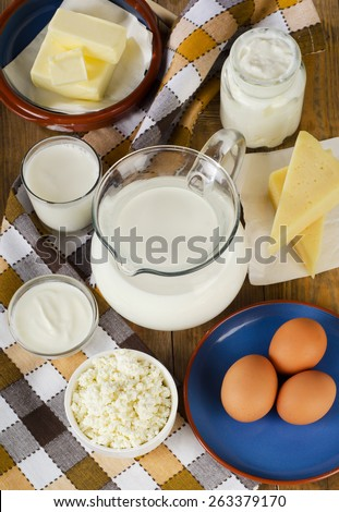 Dairy products on  wooden table. Top view