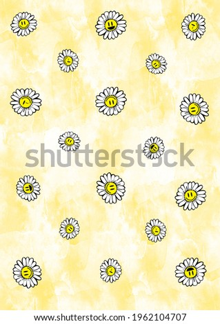 Daisies emoticons, on a beautiful colored background, for textiles, clothing, bed linen.