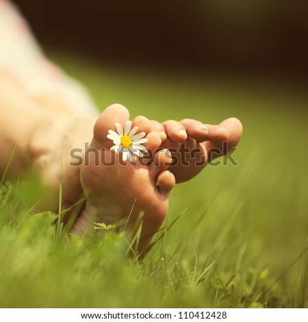 Daisy and bare feet on green grass, copy space