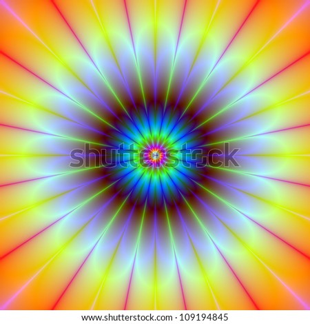 Daisy Fractal/Computer generated fractal image with a daisy flower design in yellow, blue, red and pink.