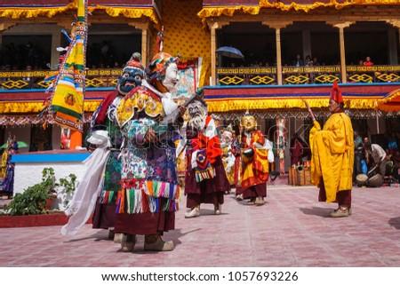 Dakthok (Takthok), Ladakh / India - July 26th 2015: Dakthok Tseschu, a Tantric Buddhist ceremony at Dakthok monastery, with tantric mask dancing performed by the monks. Nyingmapa sect. #1057693226