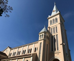 Dalat cathedral in the evening.