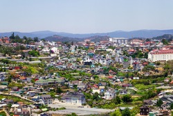 Dalat. Lam Dong. Vietnam. March 12, 2020. View of the city and its surroundings in the mountains.