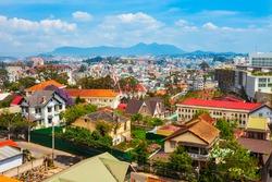 Dalat or Da Lat city aerial panoramic view in Vietnam