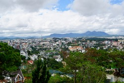 Dalat, Vietnam, view from cable car going to Trúc Lâm Phụng Hoàng Zen Monastery. Spectacular views to mountains, town and forests.
