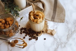 Dalgona whipped coffee, instant coffee, cream coffee, iced coffee