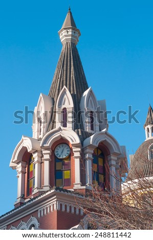 DALIAN, CHINA - JANUARY 19, 2015 . Russian architecture in Dalian. Gothic architecture that was inspired by the Russian population that once lived in Dalian early in the 20th century.