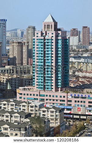 "DALIAN-NOV. 1:The cityscape of Dalian. With 1700 people per square KM Dalian ranked 33 on the list ""Largest cities in the world ranked by population density""� (1-125). Dalian, Nov. 1, 2012."