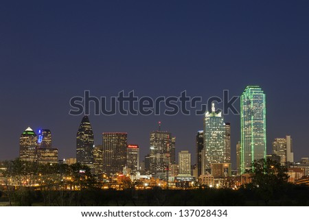 DALLAS-APRIL 1: A View of Skyline Dallas at Night on April 1, 2013 in Dallas, Texas. Dallas is the ninth most populous city in the United States and the third most populous city in the state of Texas.