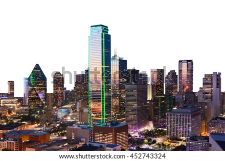 Dallas City Skyline at dusk, sunset, Texas downtown, business center. Commercial zone in big city. View from Reunion Tower. stock photo
