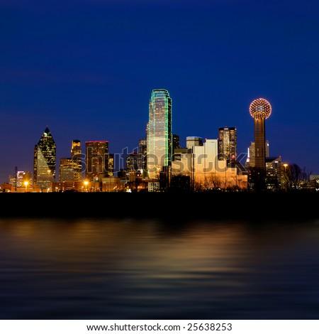 Dallas city skyline at night shot over the Trinity river stock photo