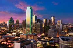 Dallas city skyline, Texas. View from Reunion Tower Downtown. Beautiful scene after sunset of commercial zone.
