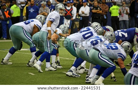 DALLAS - DEC 14: Taken in Texas Stadium on Sunday, December 14, 2008. Tony Romo and the Dallas Cowboys lineup against the NY Giants.