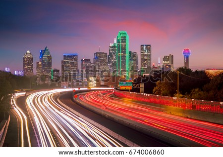 Dallas downtown skyline at twilight, Texas USA stock photo