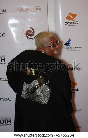 DALLAS - FEBRUARY 13: Comedienne and actress Luenell models on the red carpet at an NBA All Star Weekend event hosted by Diddy, February 13, 2010 in Dallas, Texas