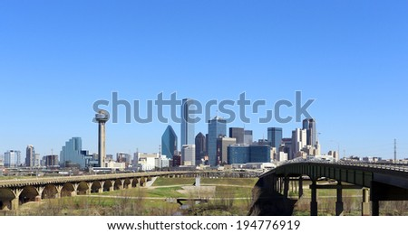 DALLAS - MARCH 13: The skyline of the city of Dallas, Texas on March 13, 2014. Dallas is one of the largest cities in the United States.