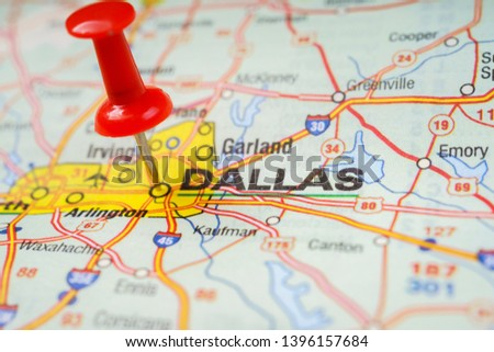 Dallas pinned on a map of USA Images and Stock Photos - Avopix.com on