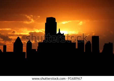 Dallas Skyline at sunset with beautiful sky