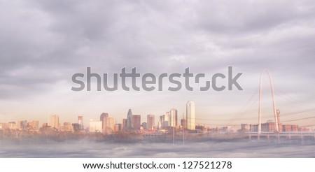 Dallas skyline in fog