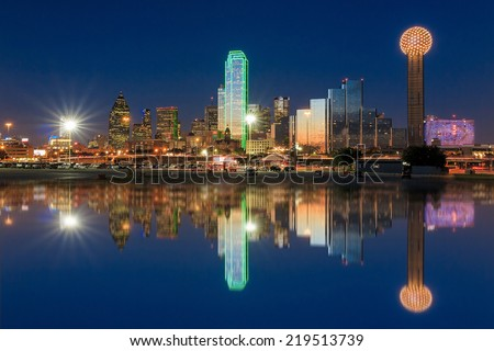 Dallas skyline reflected in Trinity River at sunset, Texas