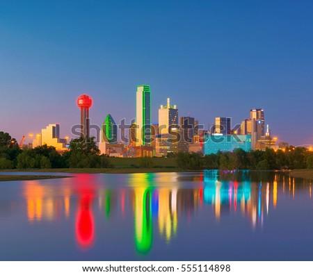 Dallas Skyline Reflection at Dawn, Downtown Dallas, Texas, USA #555114898