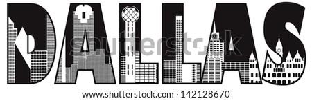 Dallas Skyline Black Outline 103