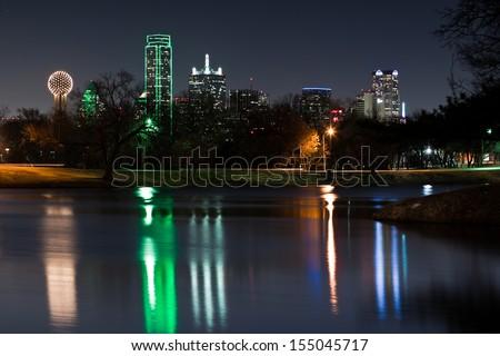 DALLAS, TEXAS - FEBRUARY 15: Dallas skyline reflected in Lake Cliff on February 15, 2011 in Dallas, Texas.