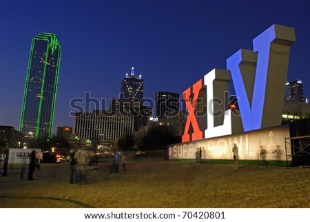 DALLAS, TEXAS - FEBRUARY 3: XLV sign in Dallas, Texas on February 3, 2011 in support of the upcoming Superbowl.  The Superbowl will be held on February, 6, 2011 in Arlington, Texas.