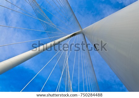 Dallas, Texas, January 7, 2012: Looking up at the Margaret Hunt Hill Bridge cables which spans the Trinity River in Dallas, TX and designed by Santiago Calatrava #750284488