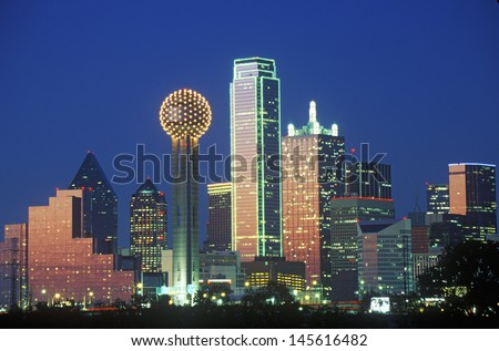 Dallas, TX skyline at night stock photo