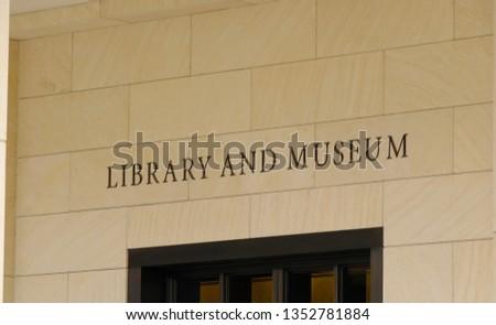 Dallas, TX / USA - March 28 2019: George Bush Presidential Library at SMU in Dallas Texas #1352781884