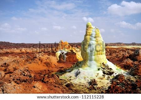 Dallol, Colorful vulcano in Danakil dessert - stock photo