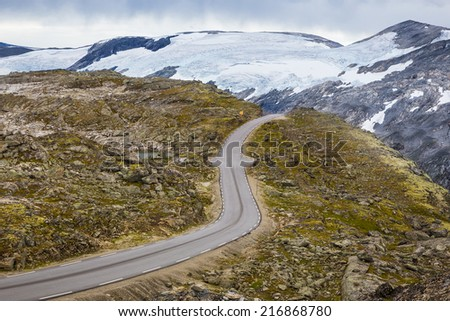 Dalsnibba road on the mountain of fifteen hundred meters above sea level peak with a beautiful view on Geirangerfjord one of the most popular fjords in Norway and cruise destination