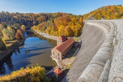 Dam and Pilchowickie Lake. Lower Silesia, Poland.