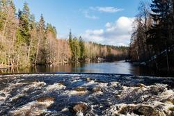 Dam and threshold on the river Jokelanjoki, Kouvola, Finland