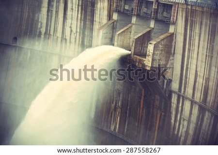 Dam discharge flood water,china,vintage effect