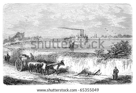 Dam in Lower Mississippi. Illustration originally published in Hesse-Wartegg's