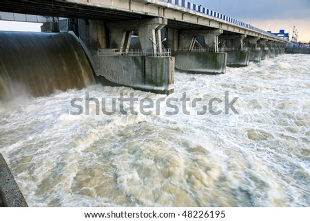 Dam in Wloclawek, river Vistula - hydroelectric. Poland