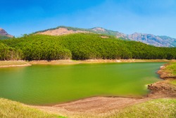 Dam lake near the Munnar town in Kerala state of India