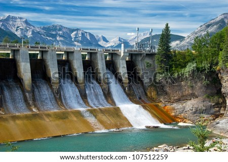 Dam of hydroelectric power plant in Canadian Rockies