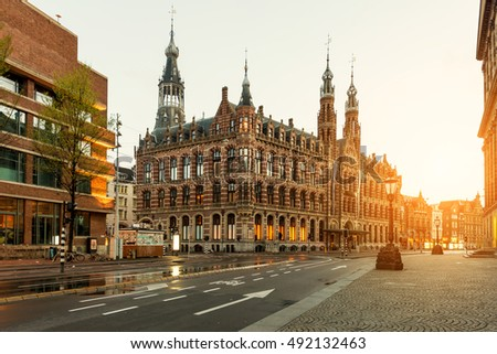 Dam square in morning at Amsterdam, Netherlands