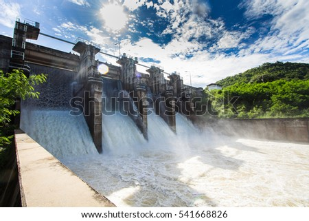 Dam water release,The excess capacity of the dam until spring-way overflows.