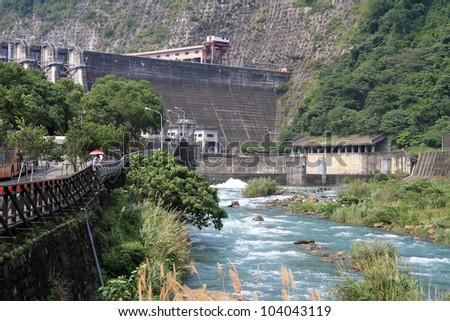 Dam with power station in Checheng near Sun Moon lake in Taiwan