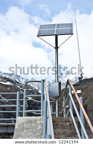 Dam with solar panel in Parco del Gran Paradiso, Italy
